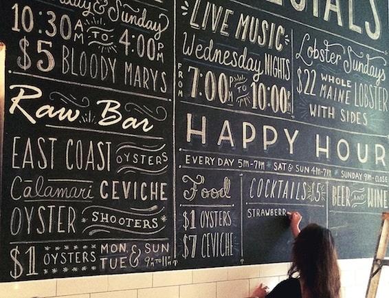 xu hướng thiết kế menu chalkboard