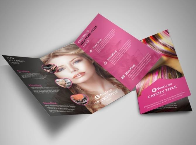 Mẫu thiết kế brochure hair salon - sự hòa hợp của 2 phong cách đối lập