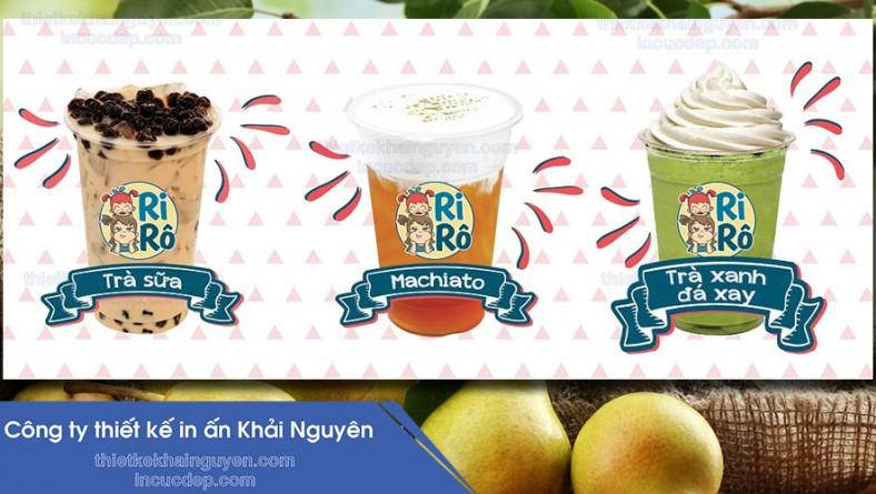 in ấn thiết kế trọn bộ quán trá sữa RiRô