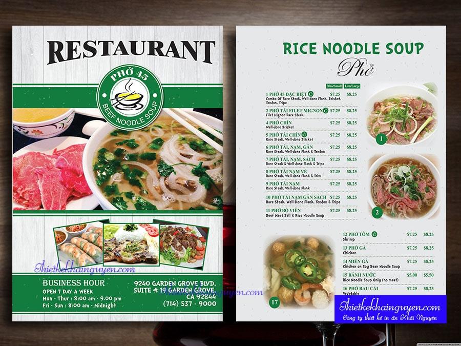 Mẫu thiết kế thực đơn nhà hàng - Phở 45