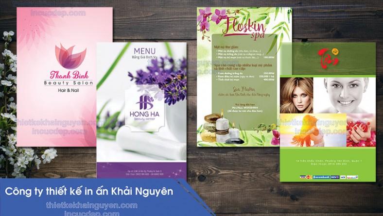 Thiết kế menu spa - in menu cao cấp