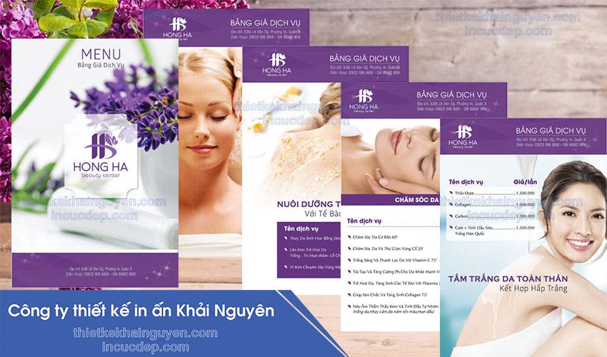 Mẫu thiết kế menu Spa Hồng Hà