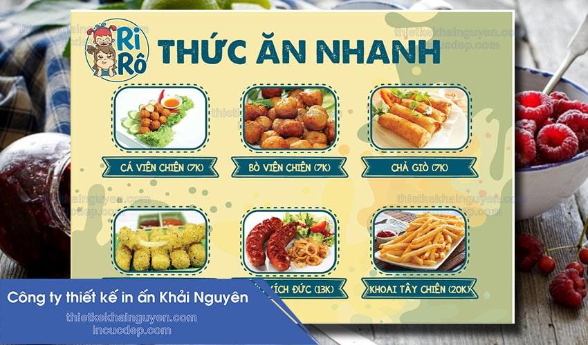 Thiết kế menu thức ăn nhanh