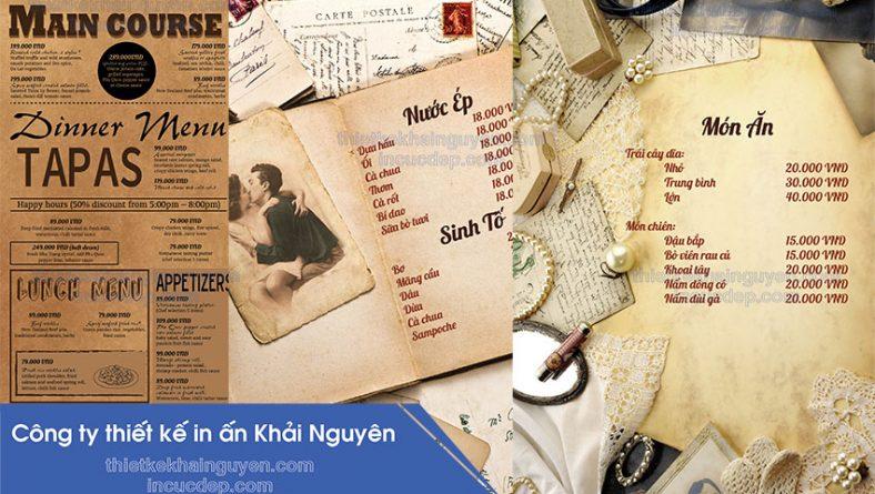 thiết kế menu vintage - in menu vintage