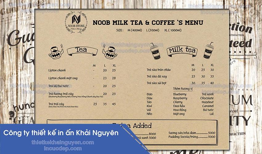 Mẫu thiết kế menu vintage đơn giản. Menu giấy kraft