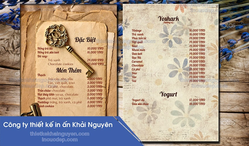 Mẫu thiết kế và in menu milk tea coffee