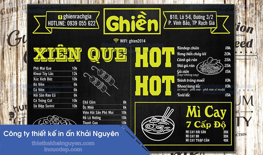 Menu quán Ghiền - thiết kế và in menu vintage