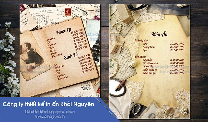 Mẫu thiết kế menu vintage coffee