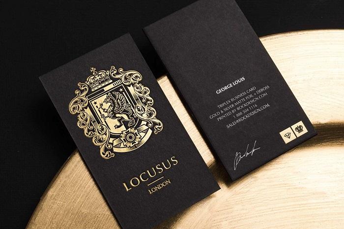 Mẫu card visit giấy đen ép kim sắc nét