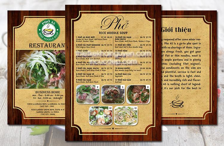 Thiết ké menu cho nhà hàng phở phong cách cổ điển
