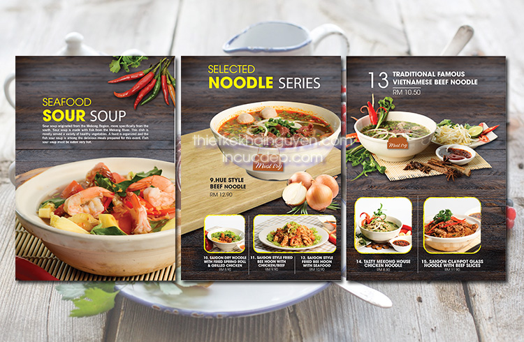 Thiết kế thực đơn nhà hàng Phở MeKong