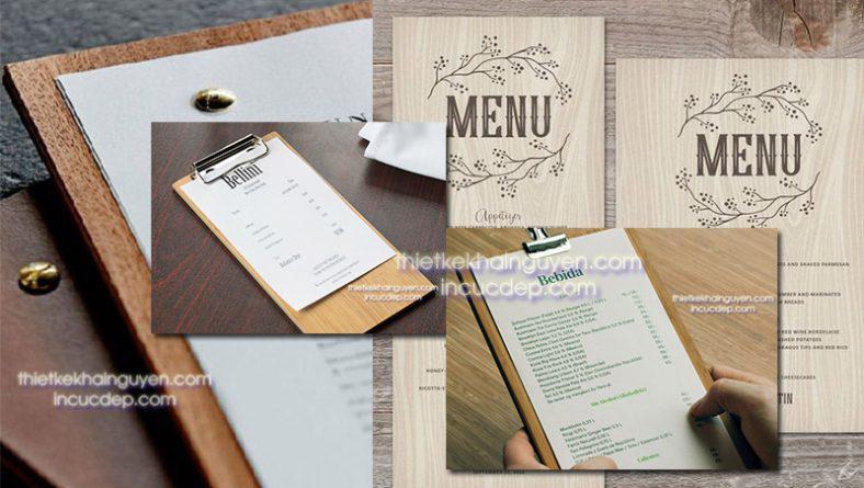 In menu gỗ dạng 1 tờ - in menu gỗ