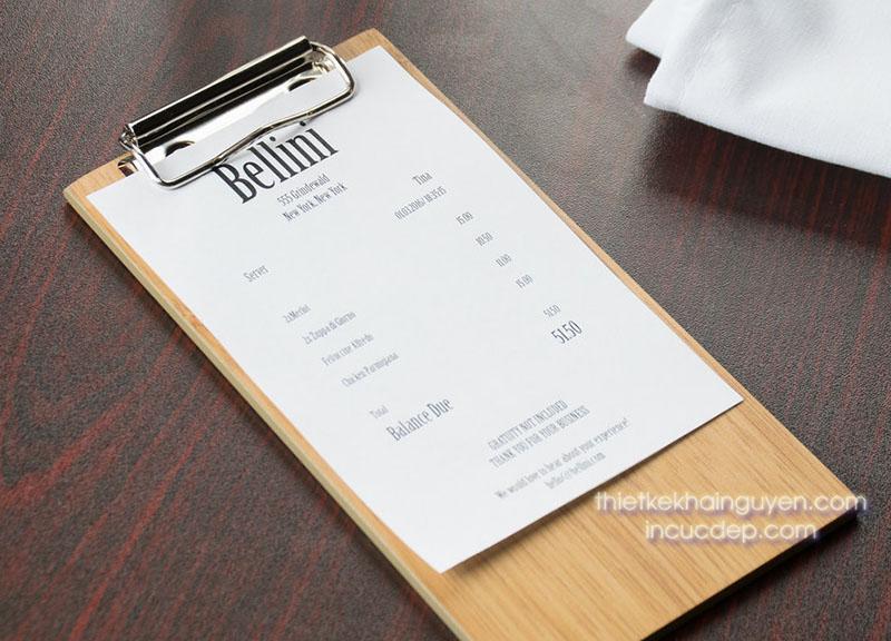 Dạng menu gỗ 1 tờ. Menu gỗ sử dụng nẹp liền