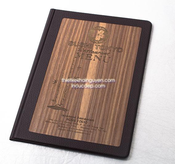 Bìa menu gỗ Sushi Tokyo
