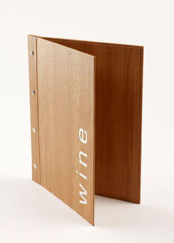 Bìa menu giả gỗ đóng gáy ốc ngoài