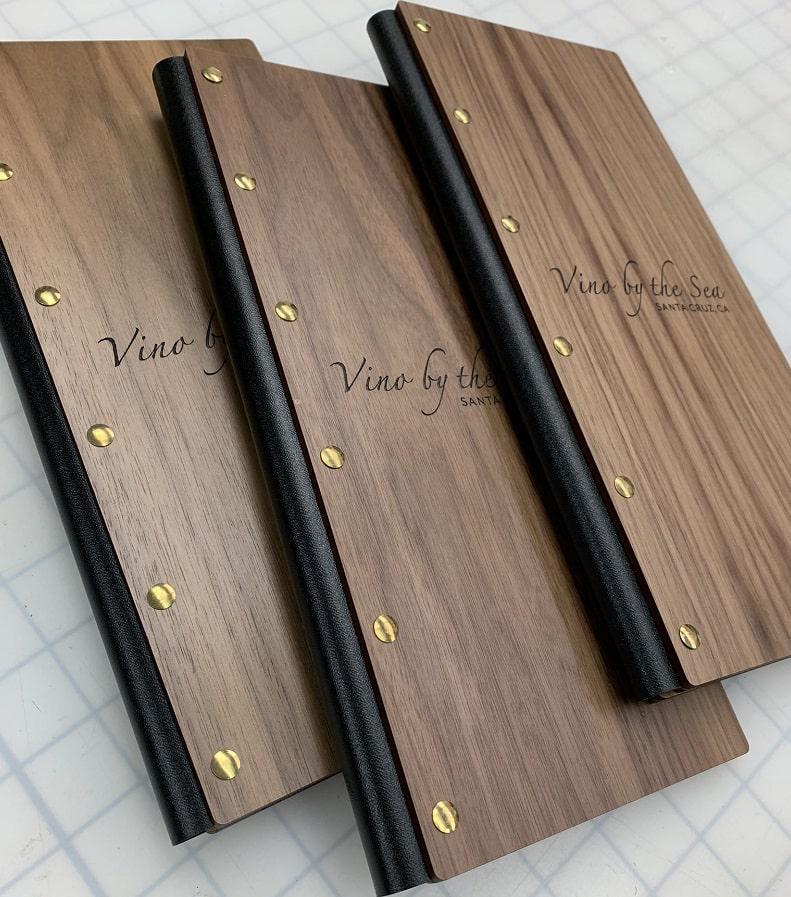 Đóng gáy làm bìa gỗ menu mới