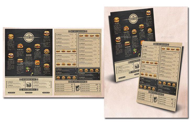 In menu dạng 1 tờ - menu burgers