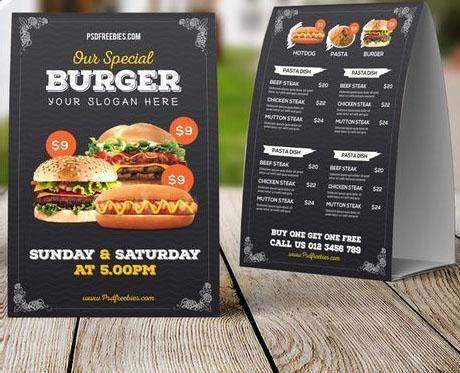 In menu để bàn - menu để bàn của cửa hàng thức ăn nhanh