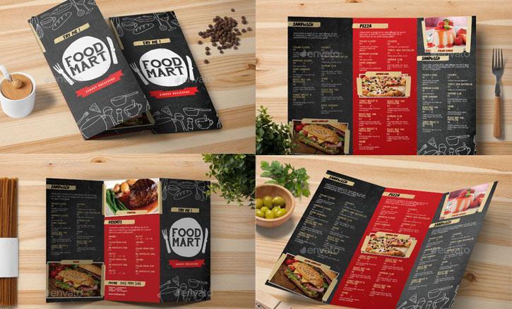 In menu thức ăn nhanh dạng menu gấp 3