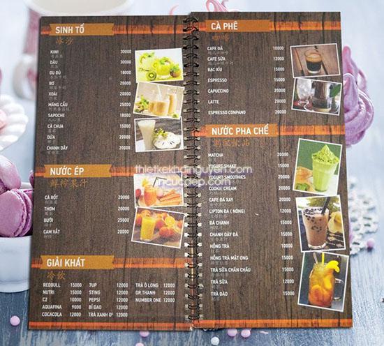 Làm menu giả gỗ - menu start coffee