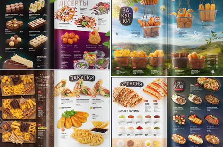 Menu thức ăn nhanh dạng cuốn dành cho nhà hàng