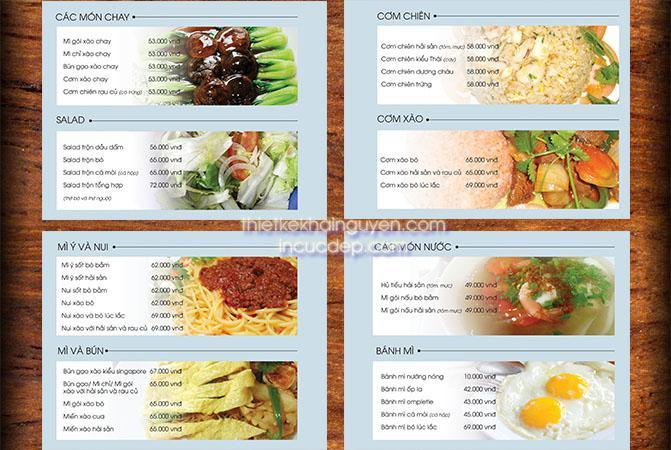 Cách bố trí thức ăn của menu