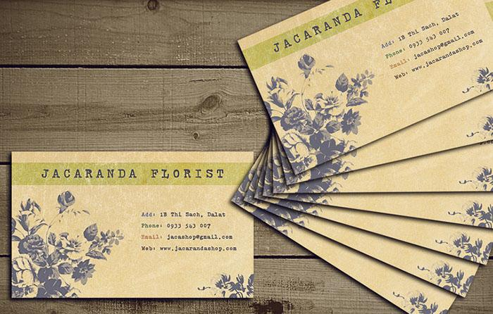 Nội dung thiết kế trên card visit Shop hoa thường đơn giản