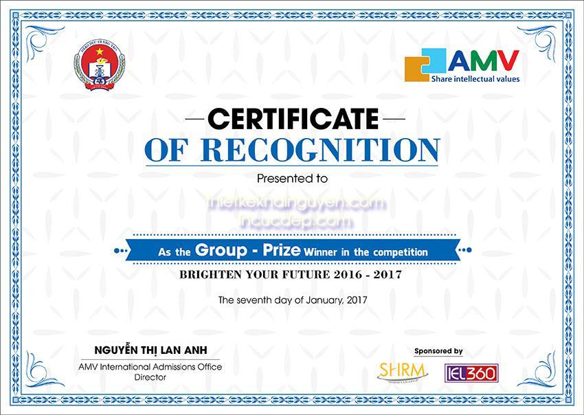 Mẫu thiết kế giấy chứng nhận - bằng khen trường học AMV