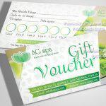 Thiết kế voucher spa với tone màu xanh nhẹ nhàng