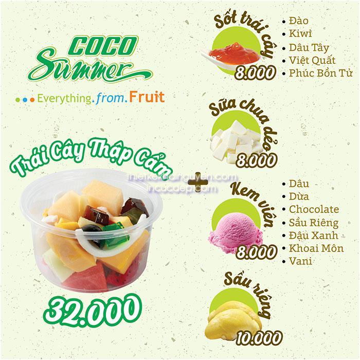 In menu dán tường quán cocosummner