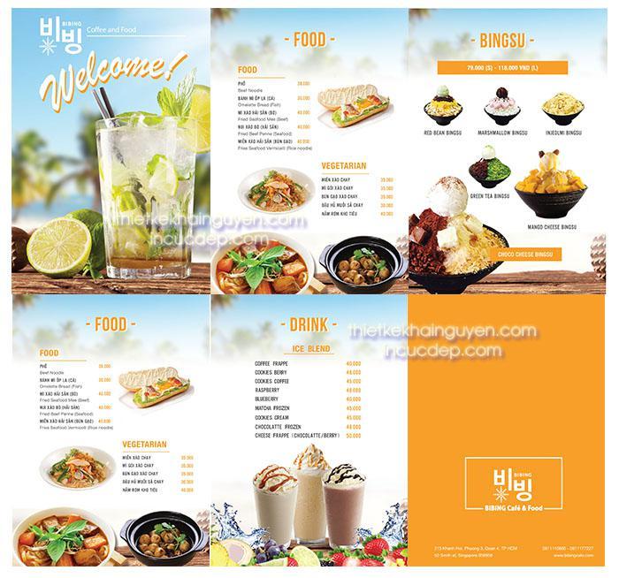 Menu kem BingSu, dạng menu chính nhiều món