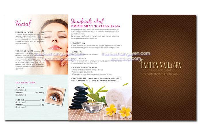 Mẫu thiết kế menu Fashion Nail Spa
