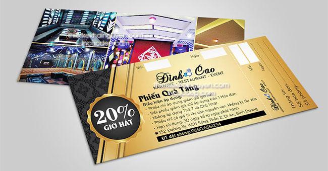 Mẫu phiếu quà tặng quán karaoke - restaurants - event Đỉnh Cao