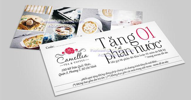 Mẫu phiếu quà tặng quán camellia tea & coffee