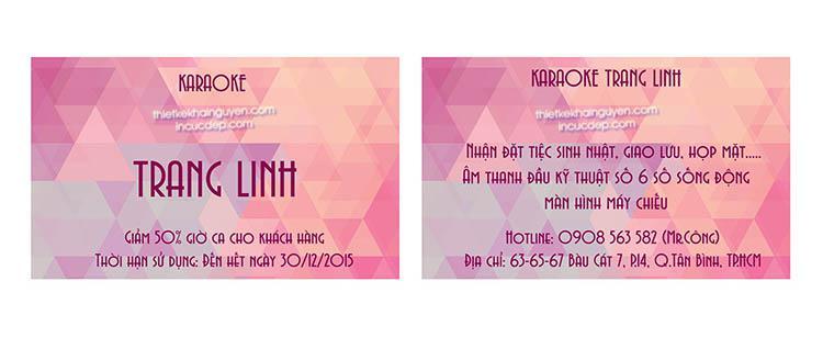 Card visit karaoke Linh Trang - Bộ thiết kế in ấn cho quán karaoke