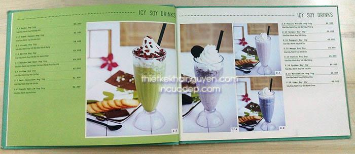 In menu photobook - dạng in menu gáy ốc ngang