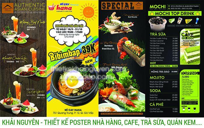 Mẫu thiết kế poster nhà hàng, quán cafe, quán trà sữa, tiệm kem, tiệm cafe