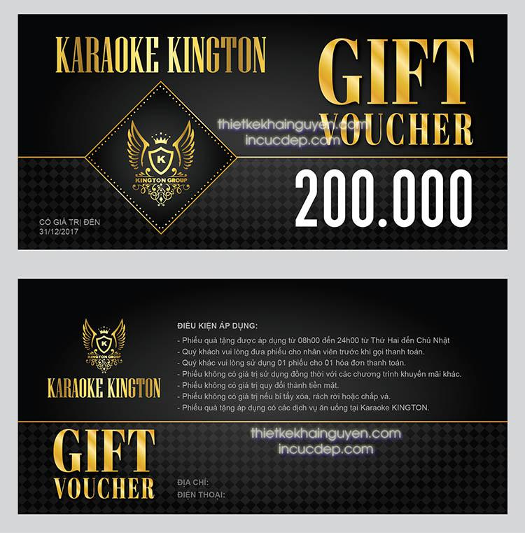 Mẫu thiết kế & in voucher karaoke KINGTON