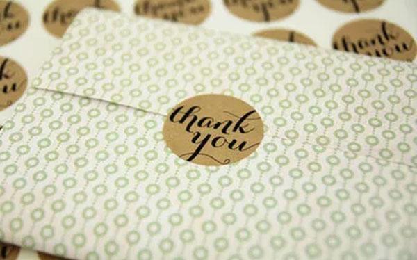 Bao thư sử dụng stiker Thank you!