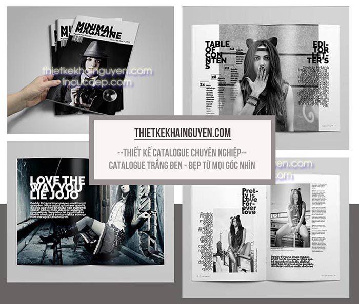 Thiết kế catalog thời trang với phong cách đen trắng