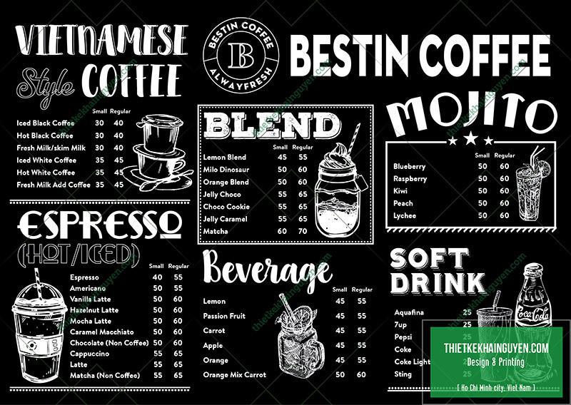 Phong cách thiết kế menu đen trắng