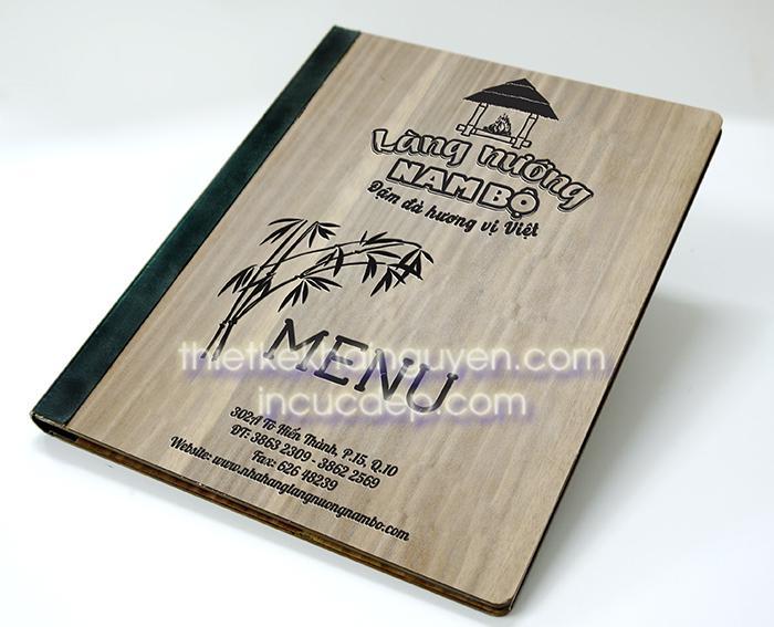 Mẫu mockup bìa menu gỗ