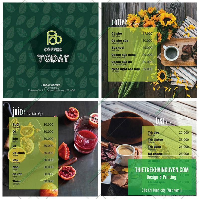 Mẫu menu cà phê đẹp của quán TODAY coffee
