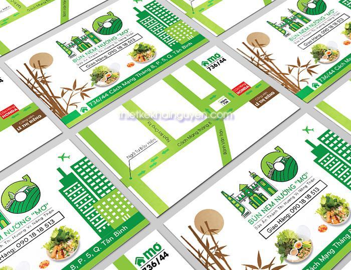 Mẫu thiết kế card visit nhà hàng  Phở với bảng đồ chi tiết