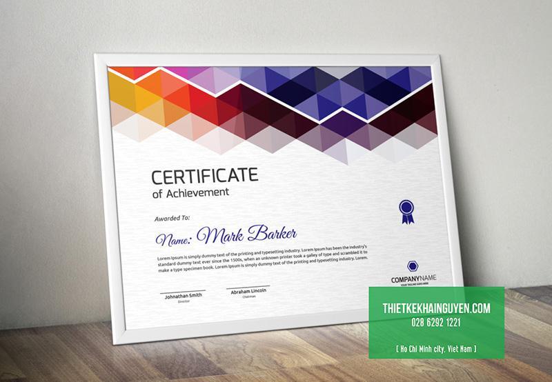 Mẫu thiết kế giấy chứng nhận đẹp đầy màu sắc