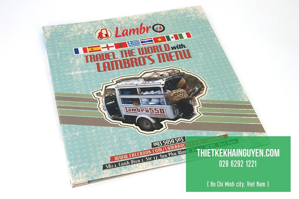 Menu Lambro's - Menu bìa bồi cứng đóng ốc ngoài
