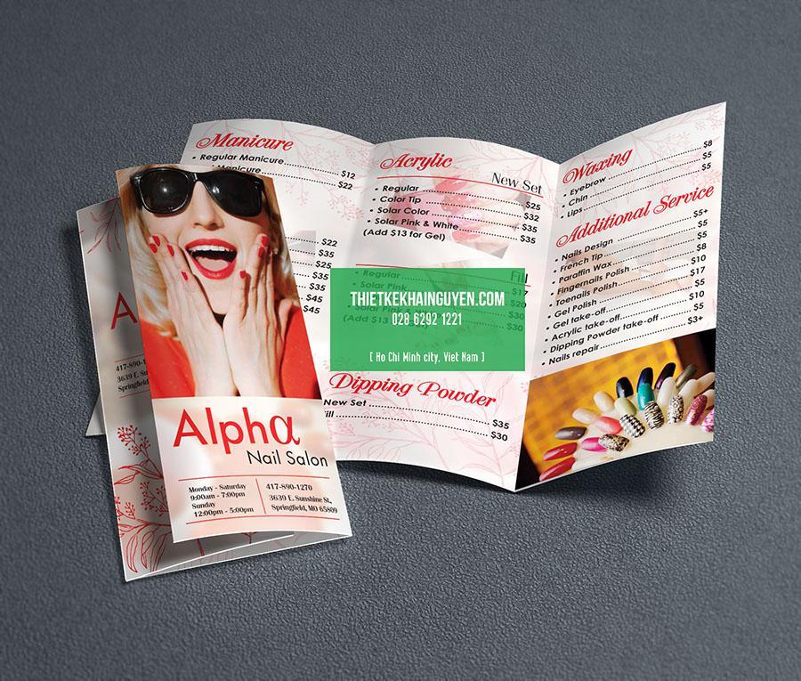 Mẫu thiết kế brochure Alpha Nails Salon