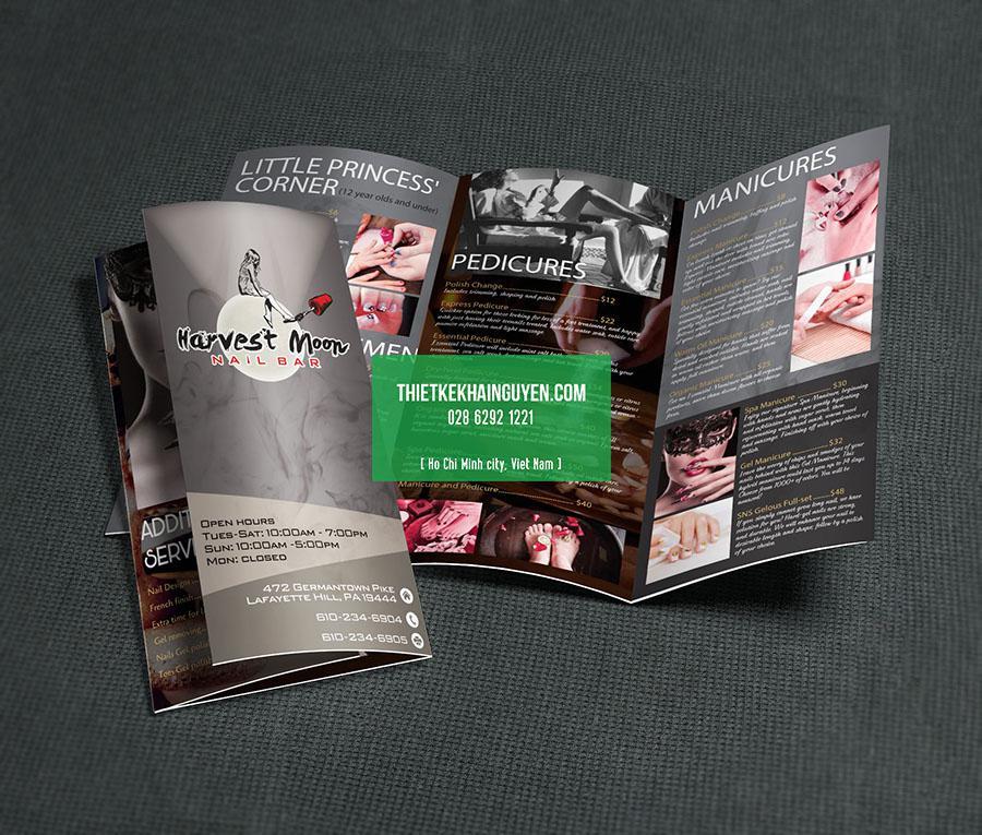 Mẫu thiết kế brochure Spa- Harvest Moon Nail Bar
