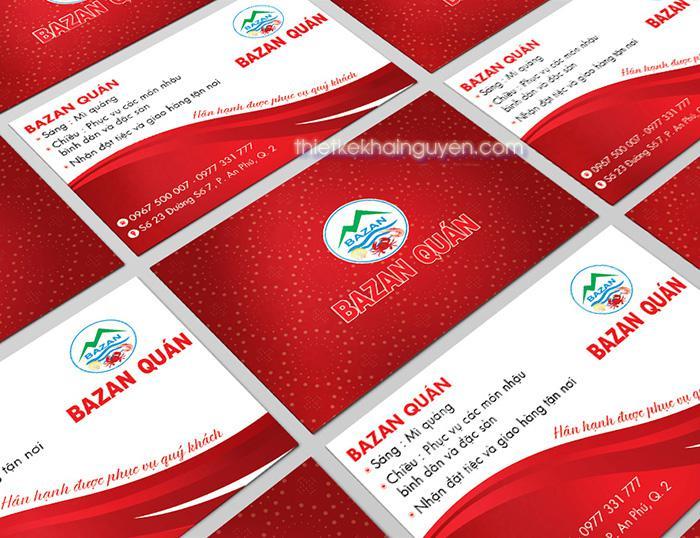 Mẫu name card Bazan quán