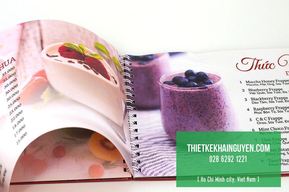 Ruột menu in giấy c300gsm cán nhám